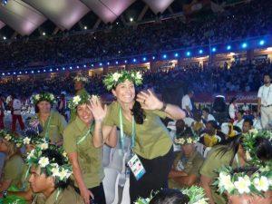 Delhi Commonwealth Games, India. - Cook Islands team celebrating at closing ceremony.